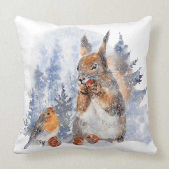 Watercolor European Squirrel and Bird Winter Scene Throw Pillow