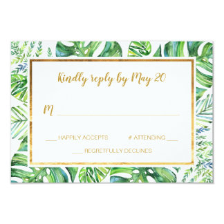 Watercolor Exotic Plants RSVP Card