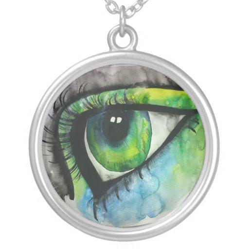 watercolor eye necklace