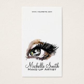 Watercolor eyes lash extension makeup branding business card
