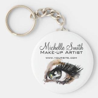 Watercolor eyes lash extension makeup branding keychain
