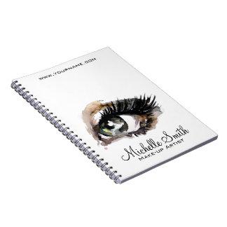 Watercolor eyes lash extension makeup branding notebook
