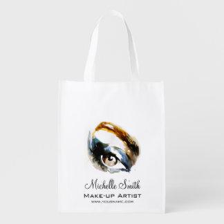 Watercolor eyes lash extension makeup branding reusable grocery bag