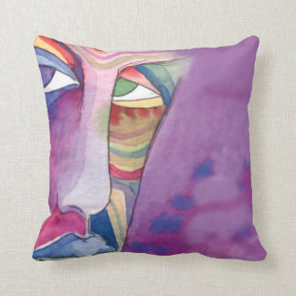 WATERCOLOR  FACE Abstract Water Color Pillow