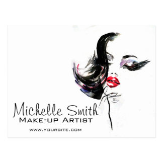 Watercolor face makeup artist branding postcard