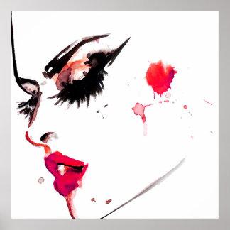 Watercolor face makeup artist branding poster