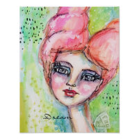 Watercolor Fairy Fun Whimsical Girl Colorful Dream Poster