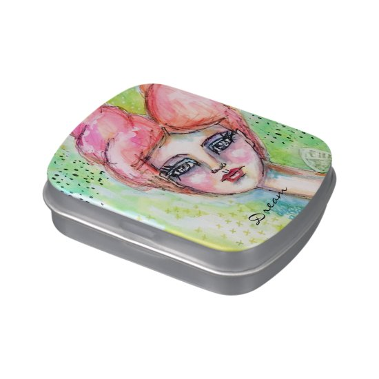 Watercolor Fairy Girl Whimsical Cute Pink Green Candy Tin