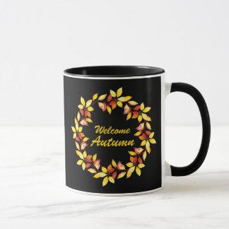 Watercolor Fall Autumn Leaves Black Mug