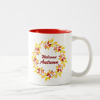 Watercolor Fall Autumn Leaves Two-Tone Coffee Mug