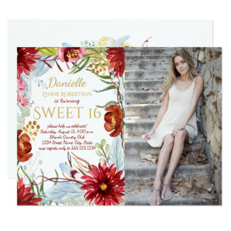 Watercolor Fall Flowers Photo Sweet 16 Card