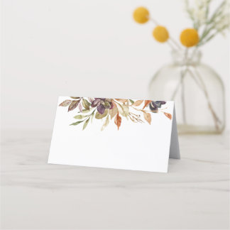 Watercolor Fall Foliage Succulent Place Cards