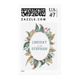 Watercolor Fall Gold Leaves Rustic Garden Wedding Postage