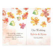 Watercolor Fall Leaves bookfold Wedding program