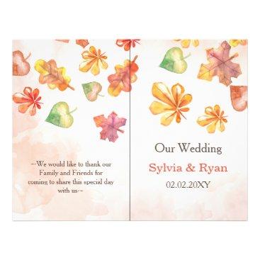Watercolor Fall Leaves bookfold Wedding program
