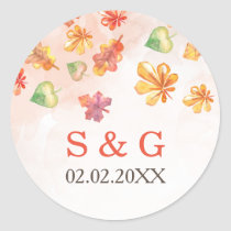 Watercolor Fall Leaves Fall wedding favors sticker