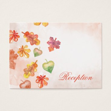 Watercolor Fall Leaves Fall wedding reception Business Card