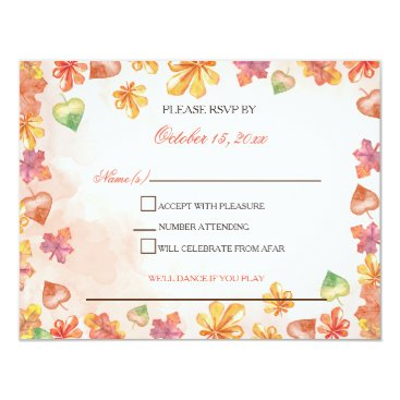 Watercolor Fall Leaves Fall wedding rsvp Card