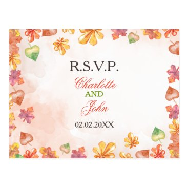Watercolor Fall Leaves Fall wedding rsvp Postcard