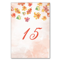 Watercolor Fall Leaves Fall wedding table numbers