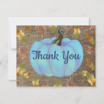 Watercolor Fall Pumpkin Burlap Blue Thank You card
