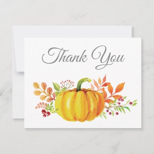 Watercolor Fall Pumpkin Thank You Card Zazzle Com