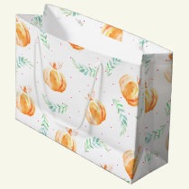 Watercolor Fall Pumpkins & Laurels Large Gift Bag