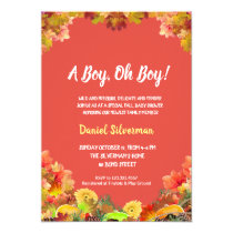 Watercolor Fall Thanksgiving Pumpkin Baby Shower Invitation