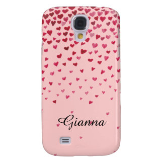 Watercolor Falling Hearts Samsung S4 Case