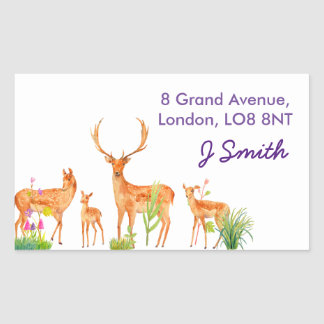 Watercolor Fallow Deer Family Address Label