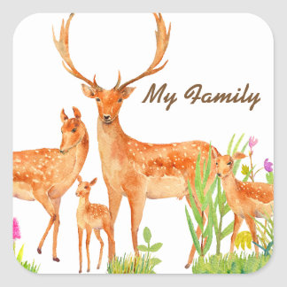 Watercolor Fallow Deer Family Sticker