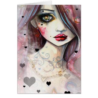 Watercolor Fantasy Art Girl and Hearts Greeting Card