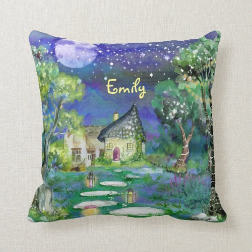 Watercolor Fantasy Woods Fairy Light Magic Cottage Throw Pillow