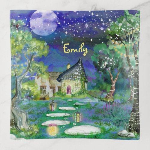 Watercolor Fantasy Woods Fairy Light Magic Cottage Trinket Trays