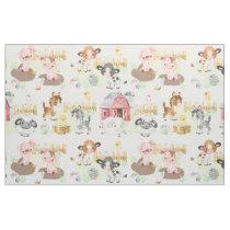 Watercolor Farm Animals Baby Nursery Fabric