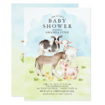 Watercolor Farm Animals Baby Shower Invitation