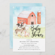 Watercolor Farm Animals | Baby Shower Invitation