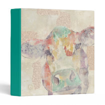 Watercolor Farm Collage Cow 3 Ring Binder