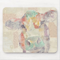 Watercolor Farm Collage Cow Mouse Pad