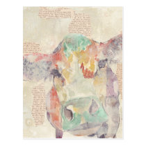 Watercolor Farm Collage Cow Postcard