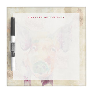 Watercolor Farm Collage Pig Dry-Erase Board