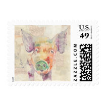 Watercolor Farm Collage Pig Postage