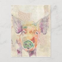 Watercolor Farm Collage Pig Postcard
