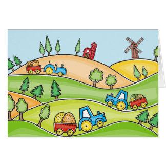 Watercolor Farm Land Card