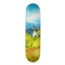 Watercolor Farm Landscape 1 Skateboard