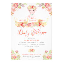 Watercolor Farm Pig Baby Shower Invitation