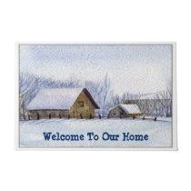 Watercolor Farm, Rustic Country, Snow, Winter Doormat