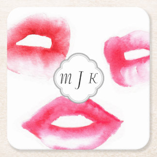 Watercolor Fashion Monogramed Coaster