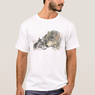 Watercolor Father Wolf & Cubs Animal Art T-Shirt