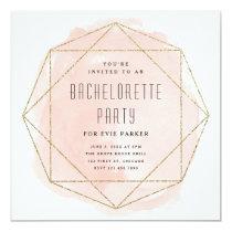 Watercolor faux glitter bachelorette party invite